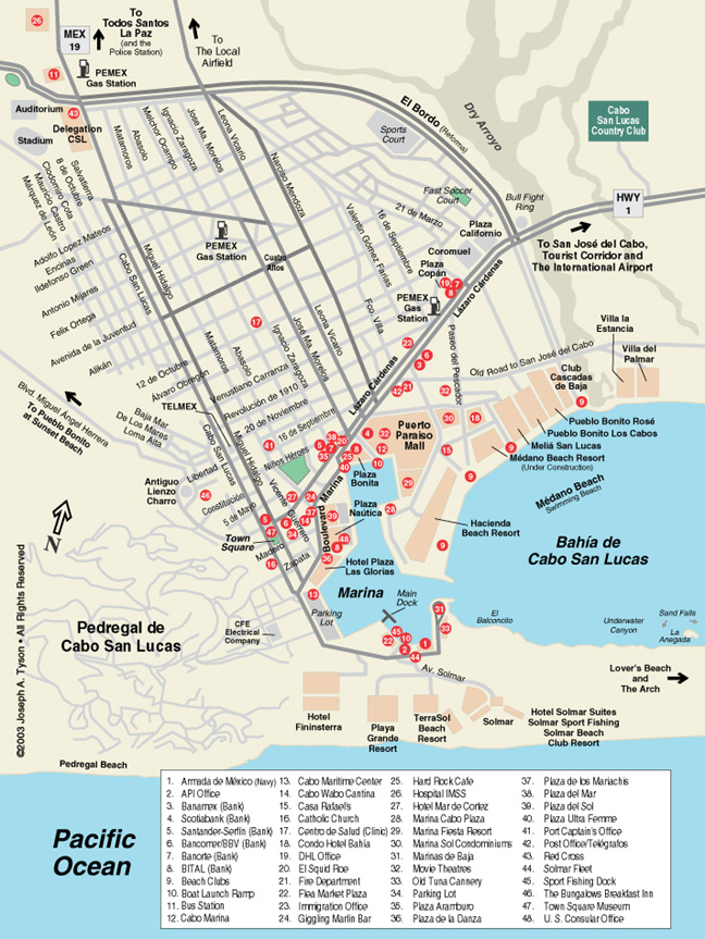 Cabo San Lucas Street Map - Los Cabos, Baja, Mexico Cabo San Lucas Map on
